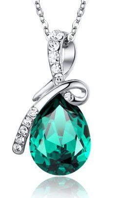 "Eternal Love Teardrop Swarovski Elements Crystal Pendant Necklace - Green Large Crystal 17.5"" Chain 2101601 Arco Iris Jewelry,http://www.amazon.com/dp/B00DOP9SYM/ref=cm_sw_r_pi_dp_ug1rsb1PSKEFY88D"
