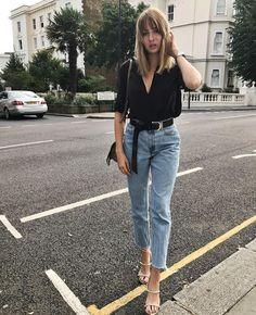 black blouse + light denim + cool belt + sandals.