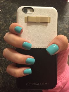 cute short teal blue acrylic square nails