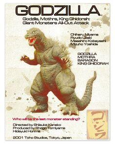 Godzilla Attack  Godzilla  Godzilla Mothera King by ViewObscura, $10.00