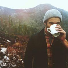 The three things that make me happy: outdoors, coffee, and a handsome man to share it with