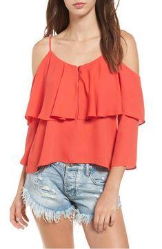 Elodie Woman's Orange Ruffle Cold Shoulder Blouse Size Medium NWT  #Elodie #Blouse