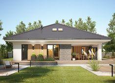 Projekt domu Miriam V 126,70 m² - koszt budowy - EXTRADOM Modern Bungalow Exterior, Modern Bungalow House, Bungalow House Plans, Modern Farmhouse Exterior, Dream House Plans, House Roof Design, Village House Design, Bungalow House Design, Village Houses