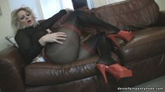 seamed pantyhose and red heels