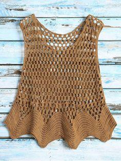 Crochet see thru tank top coffee one size Crochet Tank Tops, Crochet Summer Tops, Crochet Tunic, Crochet Clothes, Knit Crochet, Vestidos Bebe Crochet, Look Boho, Crochet Fashion, Beautiful Crochet