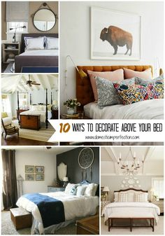 1. Art – This one is pretty obvious, and there are so many different ways to display above your bed. You can do anything from a single big piece to an entire gallery wall. via A Cup of…