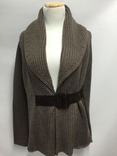 Soft Surroundings Brown Country Weekend Belted Shawl Cardigan Sweater S #SoftSurroundings #Cardigan