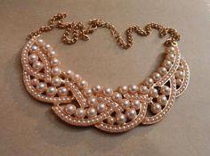 Pearl bib collar necklace. Craft ideas from LC.Pandahall.com   #pandahall