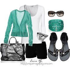 Turquoise sweater, black pants, white t-shirt, black shoes, turquoise wrap bracelet, silver purse