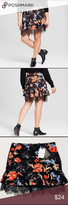 Who What Wear Floral Skirt with Lace Detailing Re-Posh! Beautiful spring/summer skirt, just ended up being a tad big on me. My loss, your gain! Who What Wear Skirts