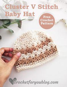 Crochet Baby Hats Free Pattern, Crochet Baby Sweaters, Crochet Baby Beanie, Crocheted Hats, Newborn Crochet, Hat Crochet, Crochet For Kids, Crochet Clothes, Crochet Stitches