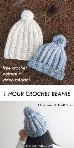 Free Crochet Pattern – 1 Hour Chunky Beanie for beginners! + video tutorial Free Crochet Pattern – 1 Hour Chunky Beanie for beginners! + video tutorial,crochet hats Learn how to crochet a beanie in. Beanie Pattern Free, Crochet Beanie Pattern, Easy Crochet Patterns, Tutorial Crochet, Beanie Knitting Patterns Free, Baby Hat Patterns, Crochet Mittens, Doll Patterns, Crochet Simple