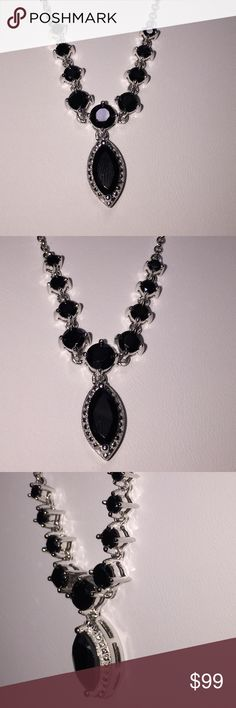 """Lovely Black Spinel V Necklace Striking & Sexy✨✨ This piece holds a 10x6 Marquis Black Spinel with Faceted Round Graduated Black Spinels going upwards on the 16"""" Chain.  925 SS Chain   The appearance is of Black Diamonds that is why I love love Spinel Gemstones.  Thailand Treasures  Jewelry Necklaces"""