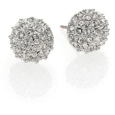 Kate Spade New York Night Lounge Pavé Stud Earrings ($48) ❤ liked on Polyvore featuring jewelry, earrings, accessories, brincos, joias, silver, rhinestone stud earrings, kate spade jewelry, rhinestone earrings and rhinestone jewelry
