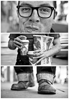 Triptych portraits of strangers. LOVE this.