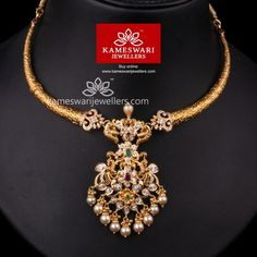 Traditional gold necklaces for women from the house of Kameswari. Shop for antique gold necklace, exquisite diamond necklace and more! Gold Earrings Designs, Gold Jewellery Design, Necklace Designs, Gold Jewelry, India Jewelry, Bridal Jewelry, Gold Designs, Jewelery, Chandraharam Designs