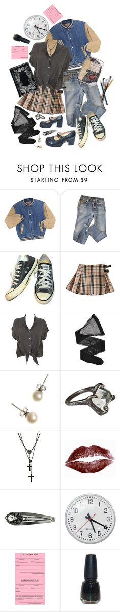 """Untitled #1405"" by anastaziah2014 ❤ liked on Polyvore featuring A.P.C., Converse, Burberry, Evil Twin, Giorgio Armani, J.Crew, Unearthen, Wildfox, 1928 and Glaze"
