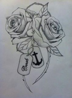 My next tatt I drew myself. Two roses, one for me and one for my husband. Dog tags because my husband is in the military, the anchor because its the NAVY and my last name.