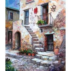 casa-contadina City Painting, House Painting, Painting & Drawing, Watercolor Landscape, Landscape Paintings, Watercolor Paintings, Pictures To Paint, Art Pictures, Pintura Colonial