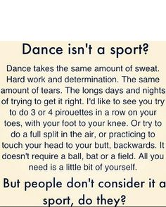 People always say dance isn't a sport but this really proves how much work dance it is