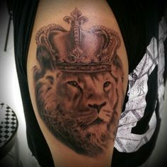 Lion With Crown Tattoo - Crowned Lion Tattoo Ideas // April, 2020 Lion Tattoo, Body Modifications, Crown, Portrait, Tattoos, Lions, Color, Ideas, Art