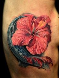 ocean hybiscus flower tattoo