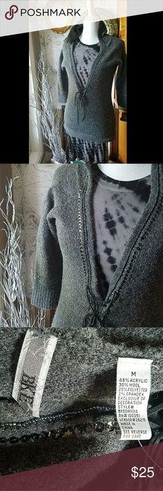 BKE! PERFECT SWEATER HOODIE! Multimedia sweater with bugle beads, low v and leather tie. Great for layering! NWOT BKE Sweaters