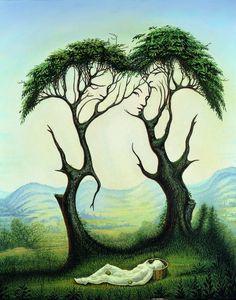 """Illusion d'optique""Peinture de l'artiste mexicain contemporain Octavio Ocampo"