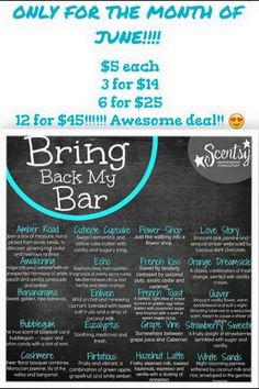 Scentsy bring back my bar!! Only for the month of June! https://kacigrimes.scentsy.us