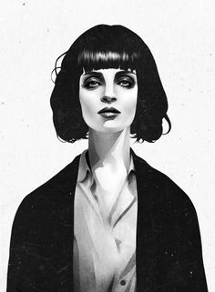 Stunning. I wish this was painted on the wall of my bedroom. And that my bedroom had 30ft ceilings because I'd paint her 22 feet high.     Mrs Mia Wallace Art Print by Ruben Ireland | Society6