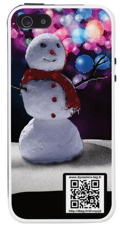 Bonhomme de neige en fête -> coque de portable avec qrcode carte de visite