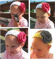 How To Crochet a flowered headband. With video!