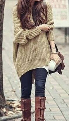 giant cozy baggy sweater, jeans and riding boots. relaxed and casual style