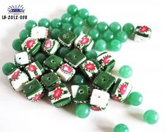 Beads Cubes Christmas Handmade Polymer Clay Green Marble Acrylic    These cube beads were completely handcrafted from polymer clay and were part of a Christmas project that I did, which included small