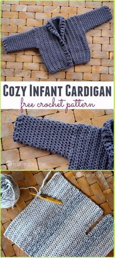 Crochet Cozy Infant Cardigan (Size 3 – 6 months) - Crochet Kid's Sweater Coat Free Patterns