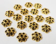 Gold Bead Caps 6mm Antique Gold Metal Daisy Flower Bead Cap End Cap Beadcaps for Jewelry Making 75pc Fits Most 6-8mm Beads USA Seller by BusyBeeBeadSupplies on Etsy