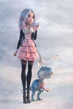 http://stroggtank.cgsociety.org/art/winter-maya-girl-mudbox-pinup-marvelous-dinosaur-designer-blue-photoshop-pink-mental-dress-ray-snow-coffee-last-break-3d-1245561