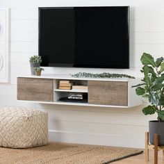South Shore Agora Wall Mounted Media Console- Pure White and Weathered Oak Mounted Tv Decor, Wall Mounted Media Console, Floating Media Console, Mounting Tv On Wall, Floating Tv Cabinet, Hanging Tv On Wall, Bedroom Tv Wall, Bedroom Decor, Bedroom Ideas