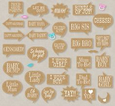 35 Rustic Baby Shower Printable Props Speech Bubbles Party