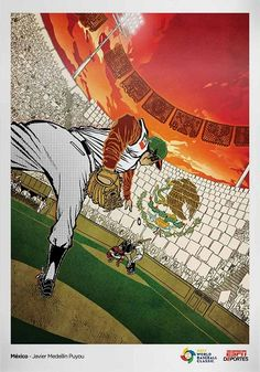 Did you know that México recently became World Cup Champions of Baseball! Defeating Japan in 10 innings. Baseball League, Baseball Field, World Baseball Classic, World Cup Champions, Wbc, Mo S, National Flag, Espn, Illustrators