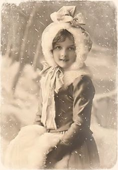 Girl in the snow  uncolorized.