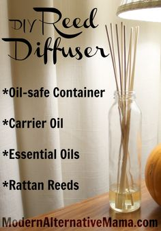 DIY Reed Diffuser with Essential Oils Homemade Reed Diffuser, Diffuser Diy, Reed Diffuser Oil, Aroma Diffuser, Diffuser Recipes, Diy Cleaning Products, Cleaning Recipes, Homemade Products, Cleaning Tips