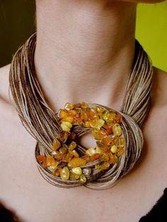 Sale Was 44 Linen Necklace nat Chunky Jewelry, Amber Jewelry, Leather Jewelry, Statement Jewelry, Boho Jewelry, Jewelry Crafts, Jewelry Art, Beaded Jewelry, Jewelery