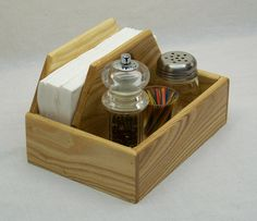 Space saver napkin holder, Compact kitchen caddy, Home organizer, Recycled Ash wood, 9 inches