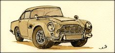 Aston Martin DB-5 watercolor painting by Juan Bosco