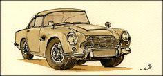 Aston Martin DB-5 watercolor painting by Juan Bosco