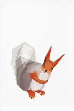 Geometric illustration, Red Squirrel, Animal print, Original illustration