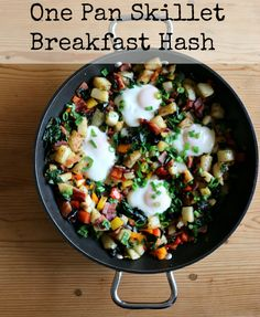 Rainbow Kale, Bacon, and Egg Breakfast Hash
