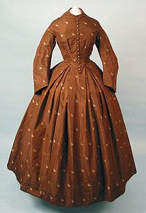 Figured Silk Day Dress, 1858-1862