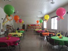 Balloon centerpieces, birthday party decorations, bright birthday party, fellowship hall decorations, 90th birthday